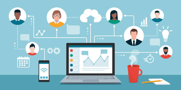 Remote working and virtual business team People with different skills connecting together online and working on the same project, remote working and freelancing concept collaboration stock illustrations
