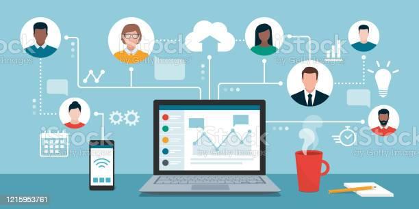 リモート作業および仮想ビジネスチーム - つながりのベクターアート素材や画像を多数ご用意