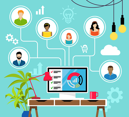 Remote Working and Virtual Business Team.