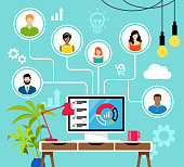 istock Remote Working and Virtual Business Team. 1269368232