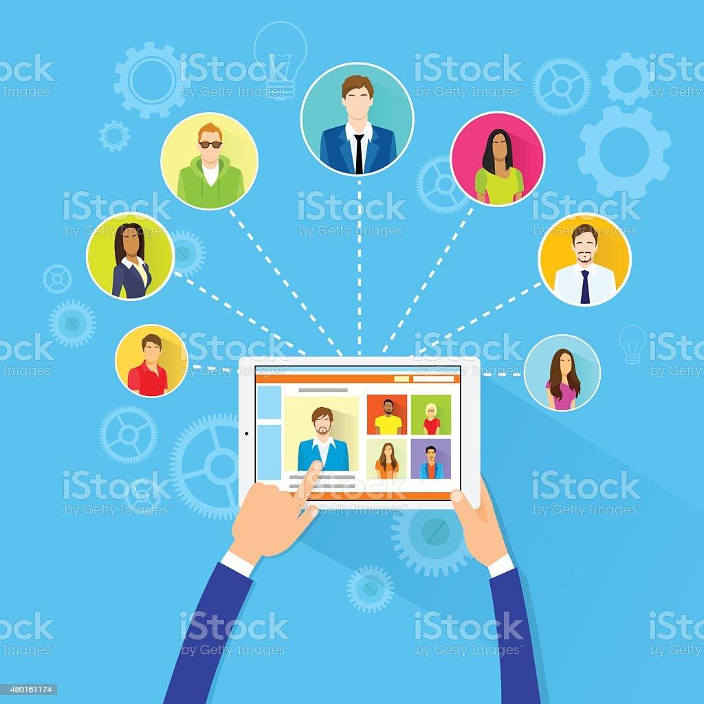 Remote Working Concept Internet Tablet Computer Manager vector art illustration