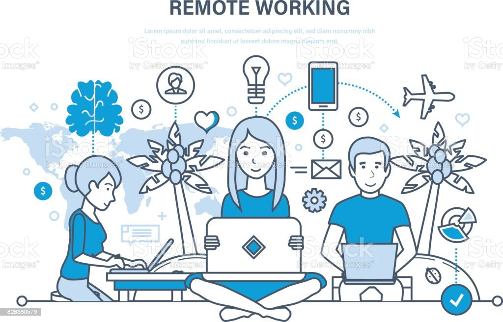 Remote working, freelancer, information technology, workplace, tools freelancer, working space vector art illustration