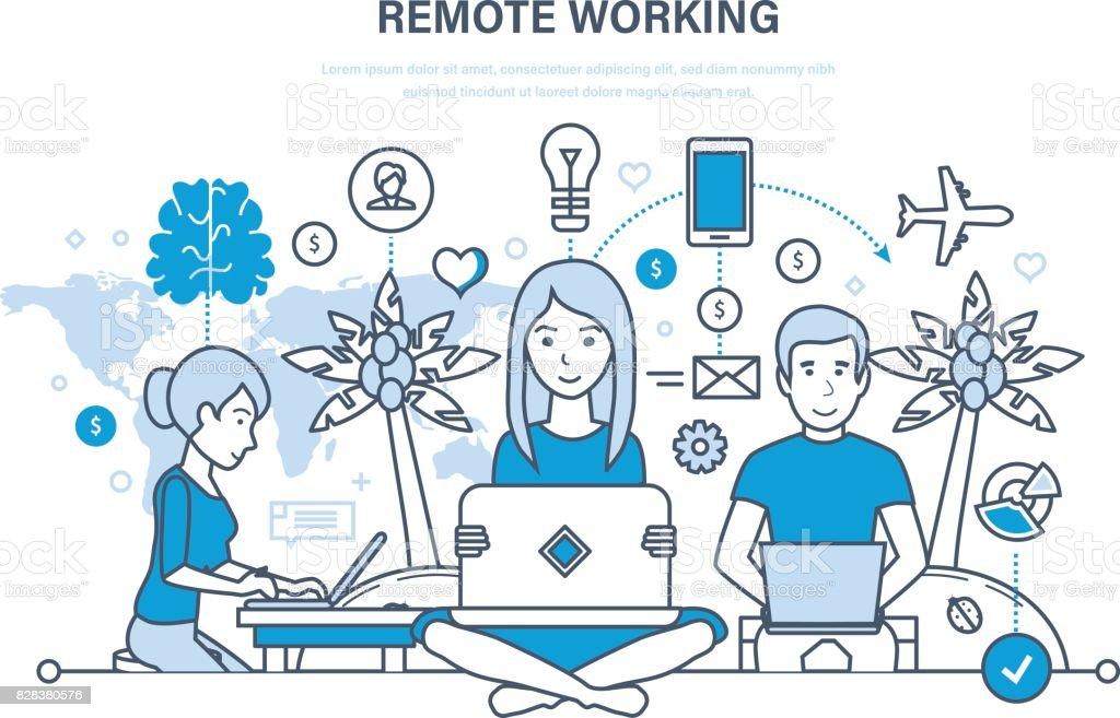 Distancia de trabajo, freelance, tecnología de la información, lugar de trabajo, freelance herramientas, espacio de trabajo - ilustración de arte vectorial