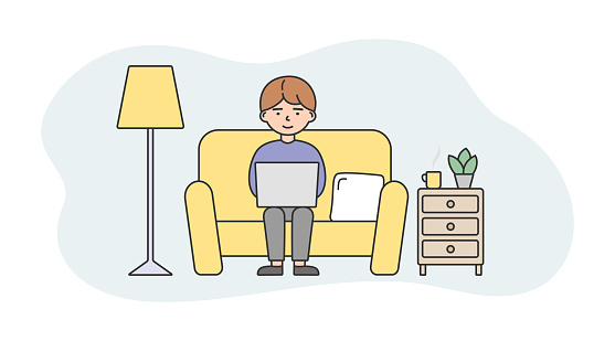 Remote Working Life Concept Illustration In Cartoon Style. Vector Composition With Male Character And Elements. Linear Art With Outline. Man Sitting At Sofa With Laptop, Home Interior Surrounding