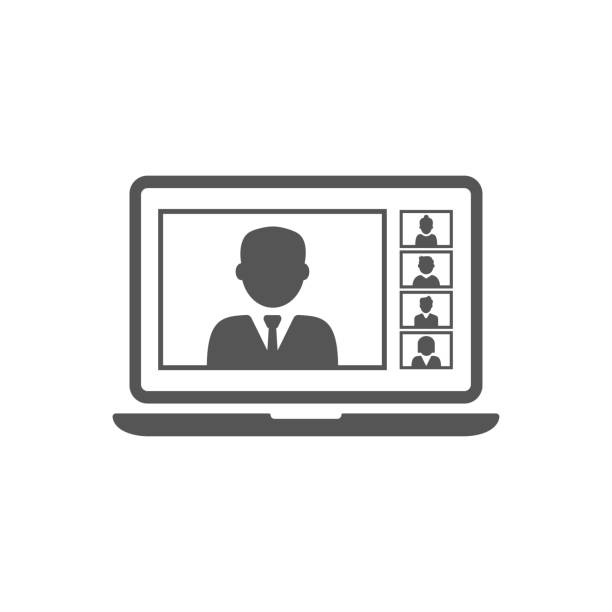 Remote working with a business meeting held via a video conference call. Teams joining via laptop. EPS 10. vector art illustration