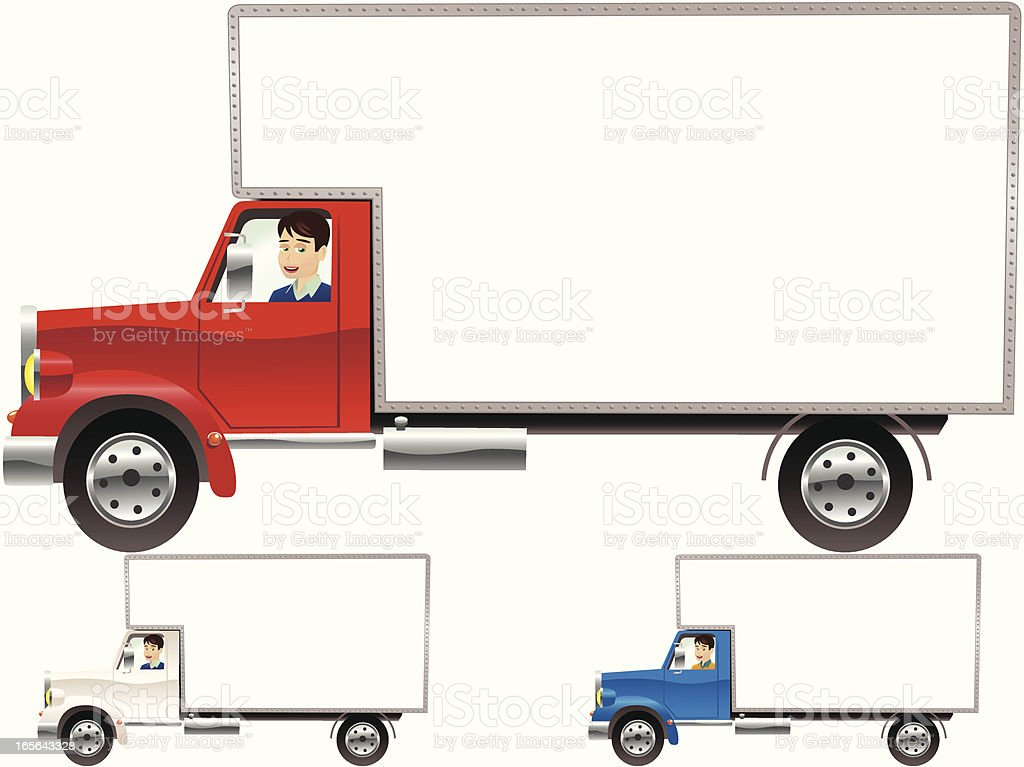 Removal trucks with blank sides royalty-free stock vector art