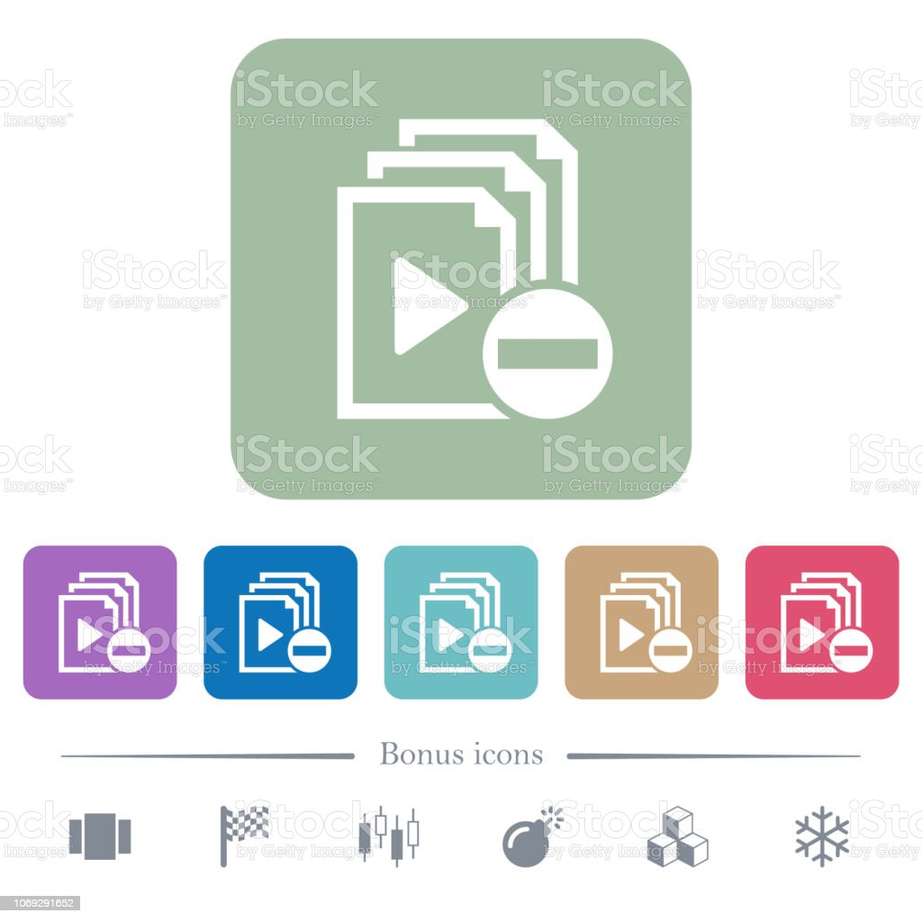 Remove item from playlist flat icons on color rounded square backgrounds vector art illustration