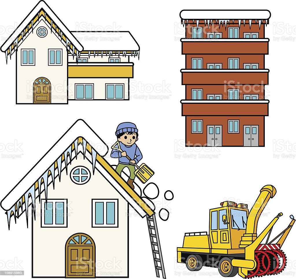 Remove the snow from roof, snowplough,Winter houses. vector art illustration