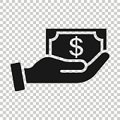 istock Remuneration icon in flat style. Money in hand vector illustration on white isolated background. Banknote payroll business concept. 1218706203