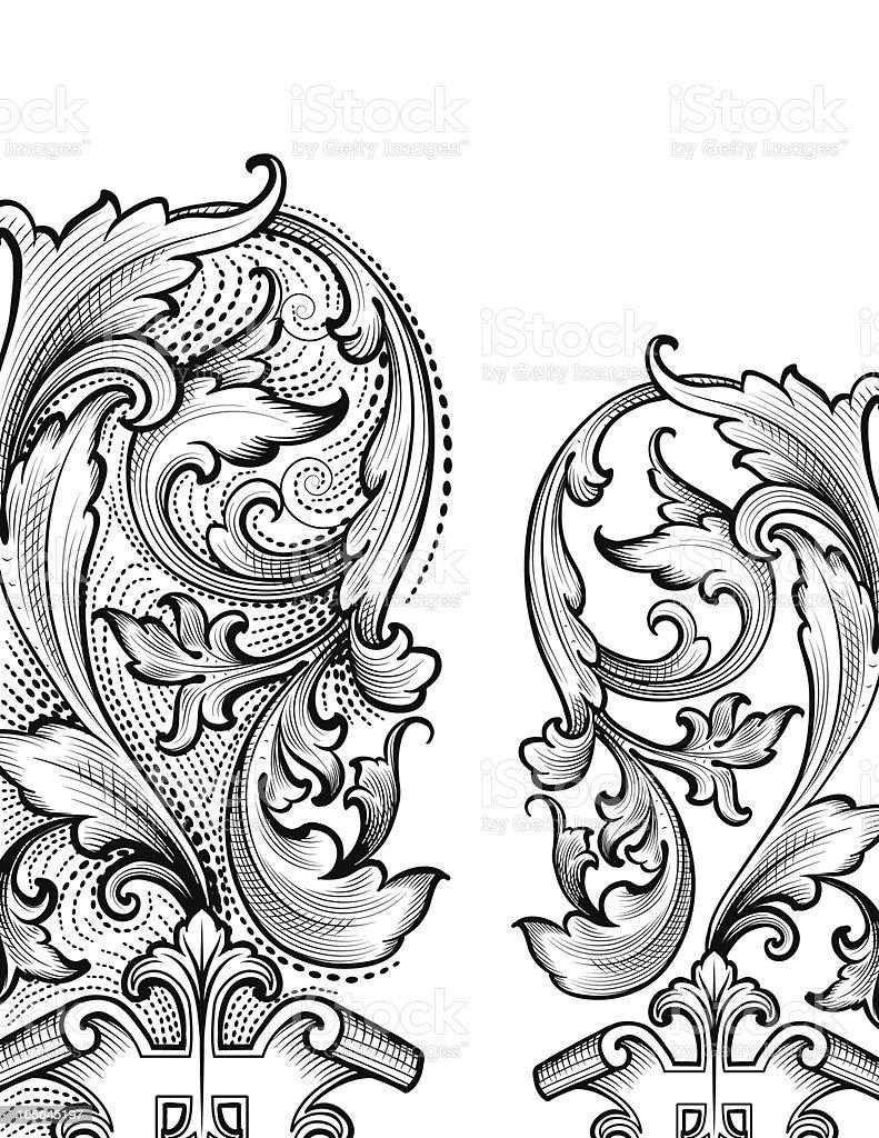 Renaissance Corners hand engraving scrollwork vector art illustration