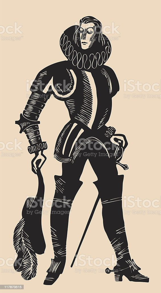 renaissance gentleman etching royalty-free stock vector art
