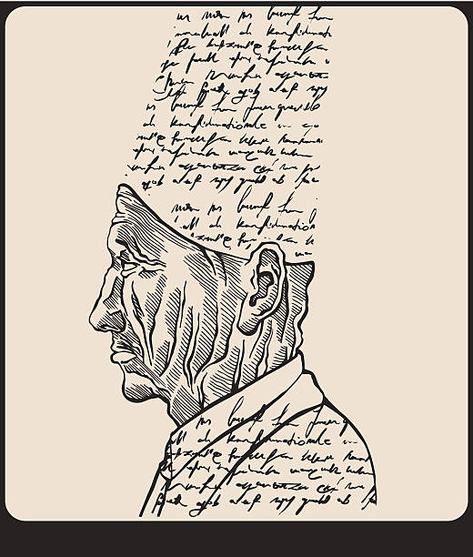 Renaissance Thinker. The man made of Words. vector art illustration