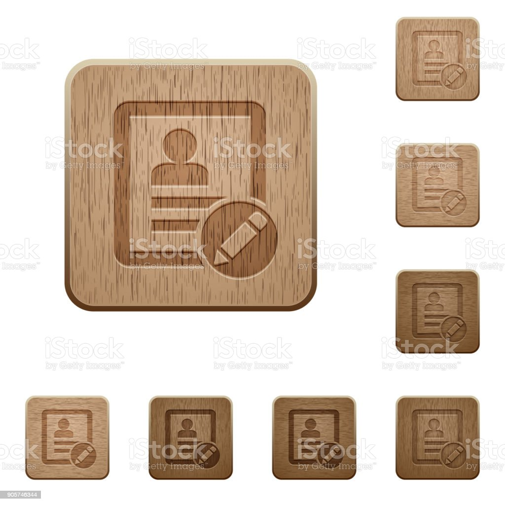 rename contact wooden buttons vector art illustration