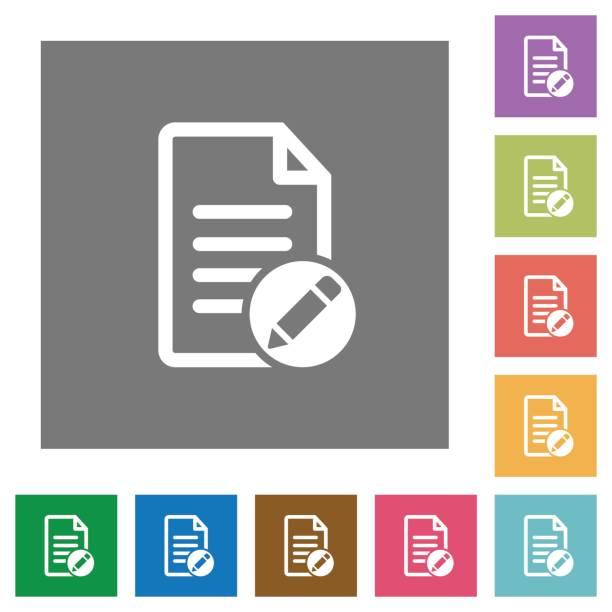 Rename document square flat icons vector art illustration
