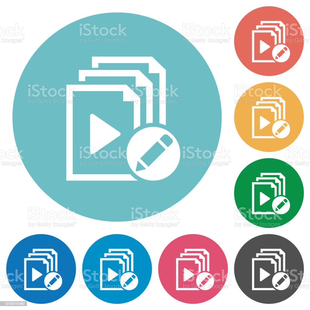Rename playlist flat round icons vector art illustration