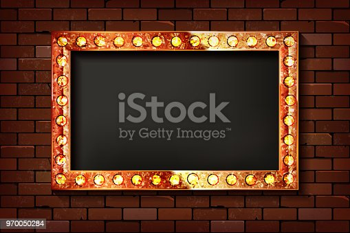 3D render Marquee light rectangle board sign on brick wall backgroud. Vector illustration