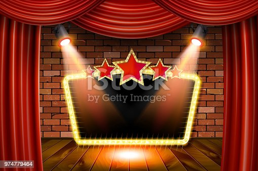 3D render Marquee light rectangle board sign on brick wall backgroud. Vector illustration. On red curtain