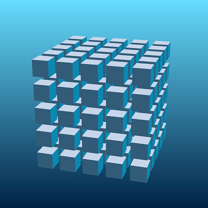 3D render of 5x5x5 solid cubes. With perspective and gaps.