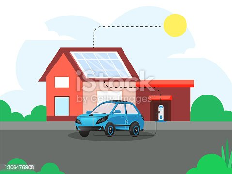istock 3D Rendering Electric Car Charging At Station With Solar House And Sunshine For Electromobility Concept. 1306476908