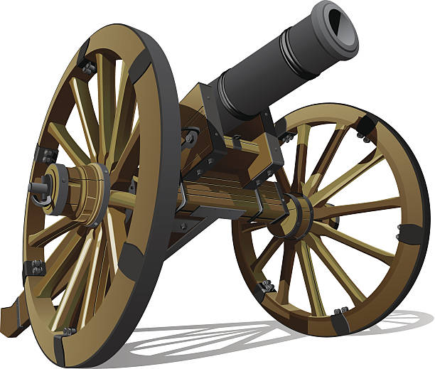A 3D rendering of an old gun cannon Vector detailed image of typical field gun of times of American Civil War, isolated on white background.  mount combatant stock illustrations