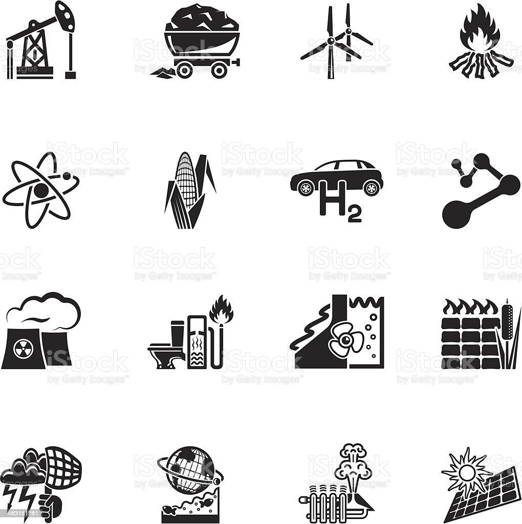 Renewable & alternative energy icon set vector art illustration