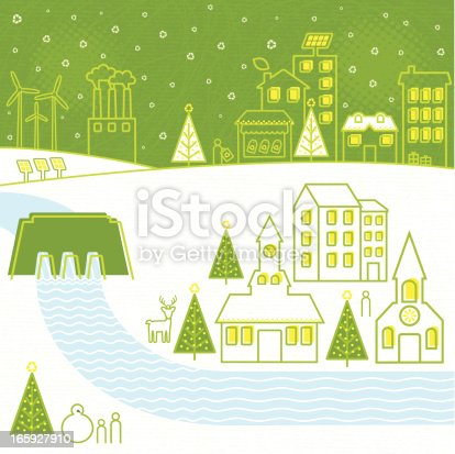 Renewable energies powering a city during Christmas time