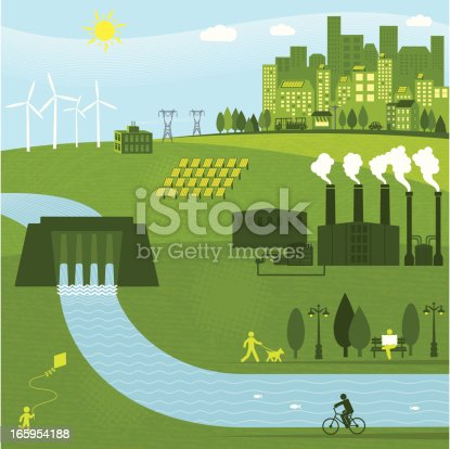 Renewable energies powering a city