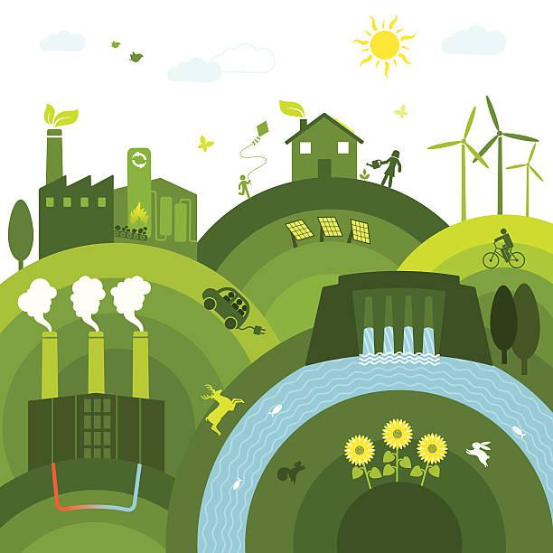 Renewable Energies Clean world with renewable energies solar panels illustrations stock illustrations