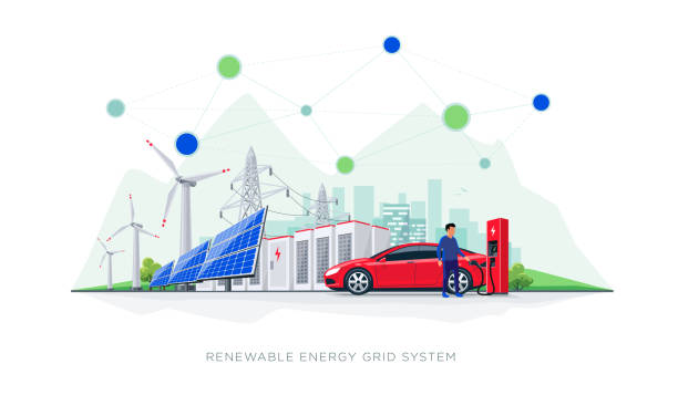 Renewable Energy Battery Storage Grid System with Electric Car Charging Flat vector illustration of renewable energy blockchain connected system. Electric car charging at charger station with solar panels, wind turbines, battery storage, high voltage power grid and city. sustainable energy stock illustrations
