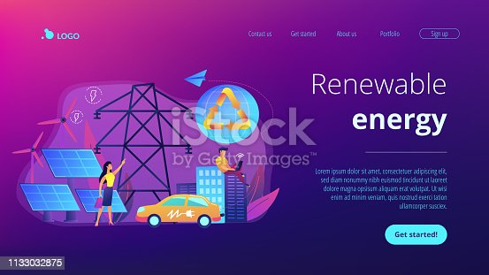 Business people use clean renewable electric energy in the city. Renewable energy, renewable power resources, rural energy services concept. Website vibrant violet landing web page template.