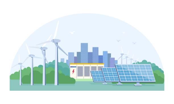 stockillustraties, clipart, cartoons en iconen met het concept van de vernieuwbare energie met zonne-en wind - opslagruimte