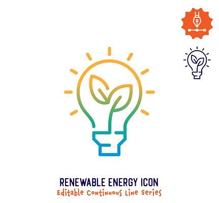 Renewable Energy Continuous Line Editable Icon