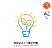 Renewable energy vector icon illustration for logo, emblem or symbols. Part of continuous line minimalistic drawing series.