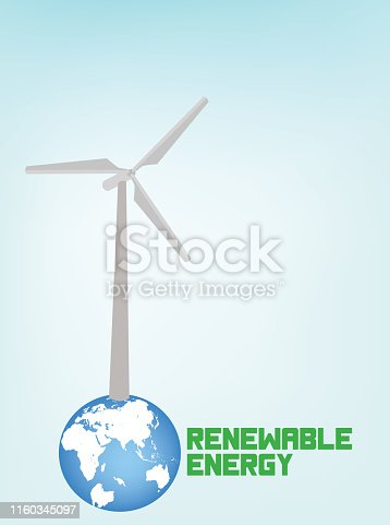 Renewable Energy Ecology Background, with wind turbines .