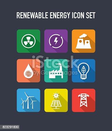 Renewable Energy Flat Icons Set