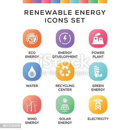 Renewable Energy Icons Set on Gradient Background