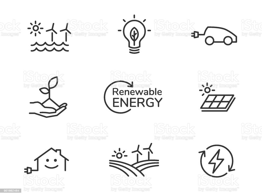 Renewable energy icons royalty-free renewable energy icons stock illustration - download image now