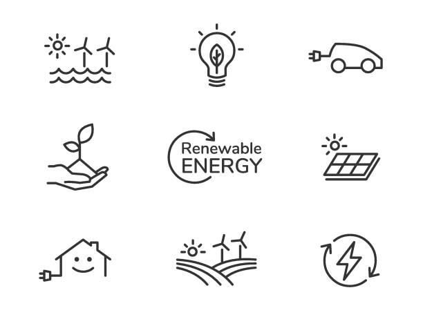 Renewable energy icons Renewable energy line icons electric vehicle stock illustrations