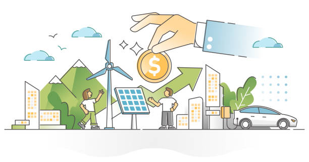 Renewable energy investment as natural future fund strategy outline concept vector art illustration