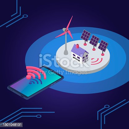 istock Renewable energy isometric color vector illustration. Eco friendly electricity source wireless remote control. Smart home solar panel and windmill 3d concept isolated on blue background 1301048131