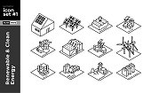 Isometric Line Icon sets of Different types of Renewable & Clean Energy Power Plants