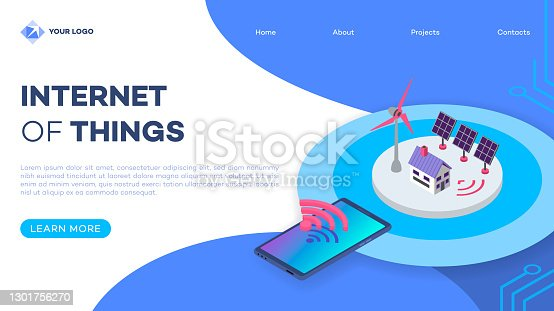 istock Renewable energy landing page vector template with isometric illustration. Eco friendly electricity source. Smart home solar panel and windmill. Website interface design. Webpage 3d concept 1301756270