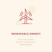 Renewable Energy Line Icon, Stock Illustration