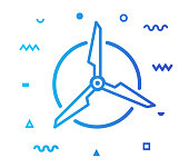 Renewable energy outline style icon design with decorations and gradient color. Line vector icon illustration for modern infographics, mobile designs and web banners.