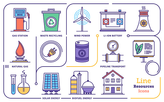 Line icon set vector illustrations of renewable energy management and comparing cheap electricity prices.