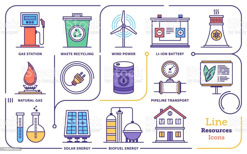 Renewable Energy Management Vector Flat Line Icon Set vector art illustration