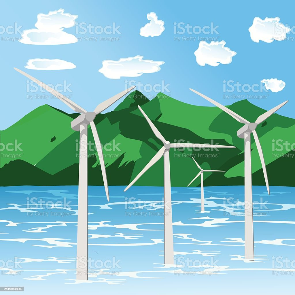 renewable energy, offshore wind turbines, flat style vector illustration royalty-free renewable energy offshore wind turbines flat style vector illustration stock vector art & more images of backgrounds