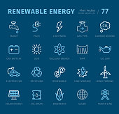 Renewable Energy - 20 three-color outline icons with captions / Pixel Perfect Set #77 / Icons are designed in 48x48pх square, outline stroke 2px.  First row of outline icons contains:  Faucet, Plug, Lightning, Gas Pipe, Carbon Dioxide;  Second row contains:  Car Battery, Sun, Nuclear Energy, Dam, Oil Can;  Third row contains:  Electric Car, Recycling, Renewable, High Voltage, Wind Turbine;  Fourth row contains: Solar Energy, Oil Drum, Bioenergy, Globe, Power Line.  Complete Captico icons collection - https://www.istockphoto.com/collaboration/boards/L98ewPMHpUStg1uF0pmcYg