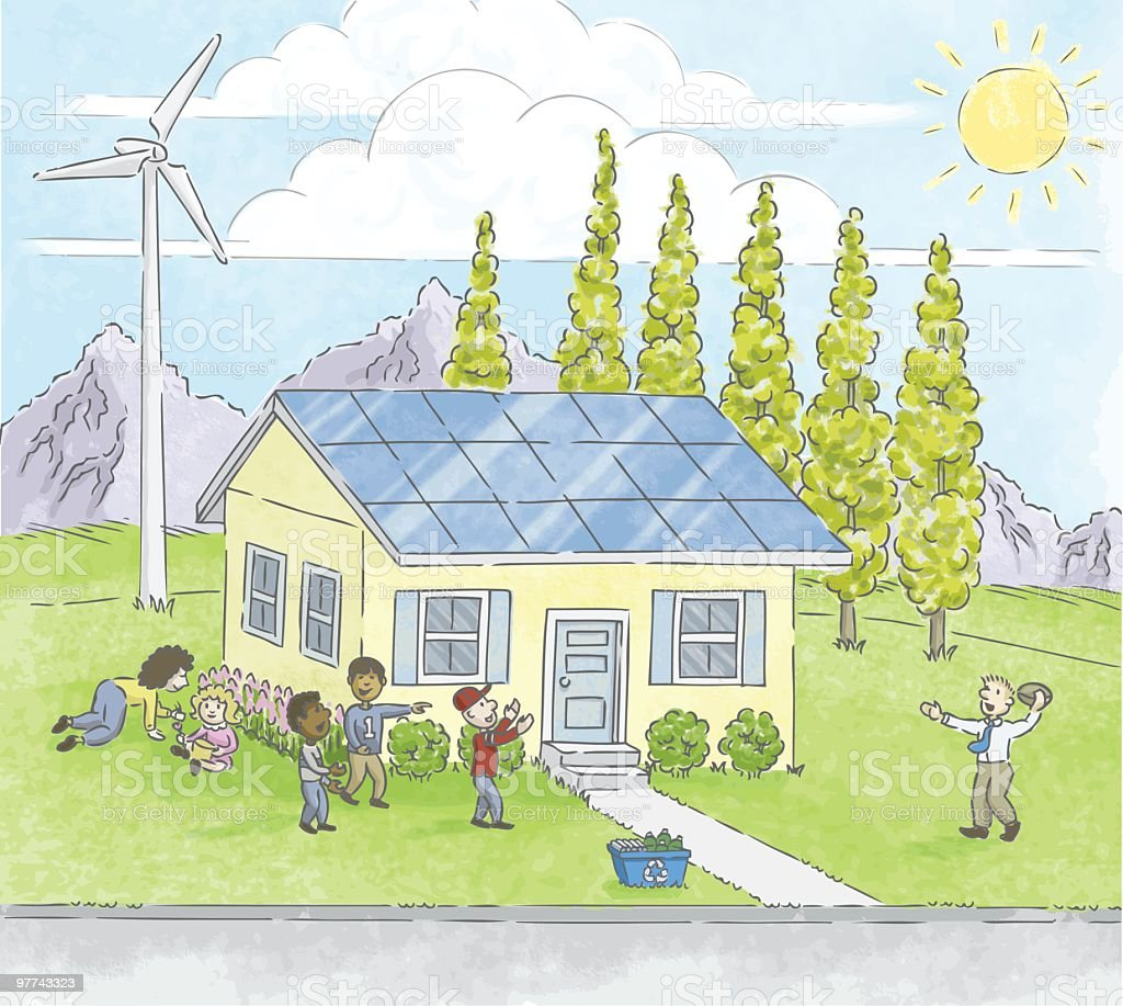 Renewable Family vector art illustration