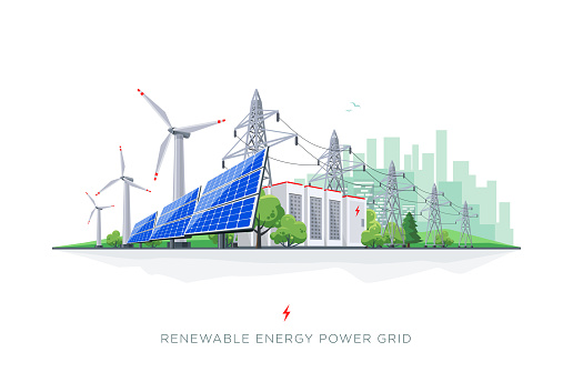 Renewable Solar and Wind Energy Battery Storage Smart Grid System with Power Lines